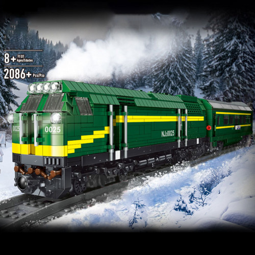 12001 MOULD KING THE GREEN DIESEL LOCOMOTIVE TRAIN WITH REMOTE CONTROL | TRAIN